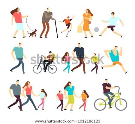 men and women walking outdoor