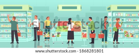 Men and women with baskets and grocery carts select and buy groceries at the grocery store. People buy food at the supermarket. Customers of a large retail store. Vector illustration in flat style