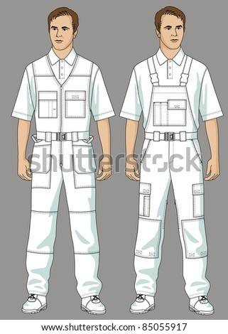 Men are dressed in white overalls and a T-shirt
