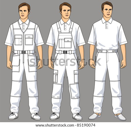 Men are dressed in white overalls, trousers and a T-shirt