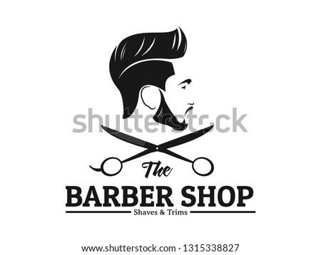 men barbershop hairstylist banner logo badge vector design template