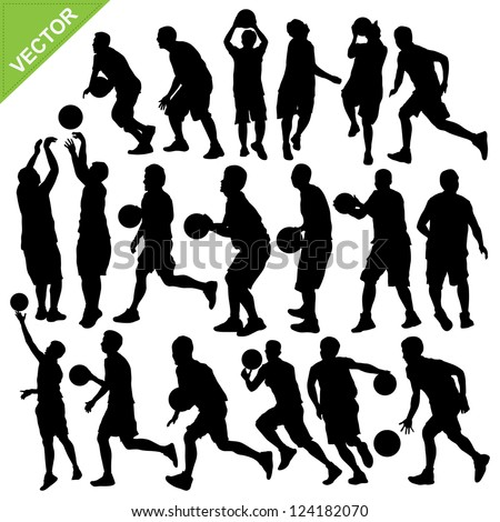 Men basketball silhouettes vector