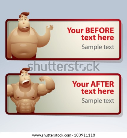 Men Before and After banner, vector - stock vector