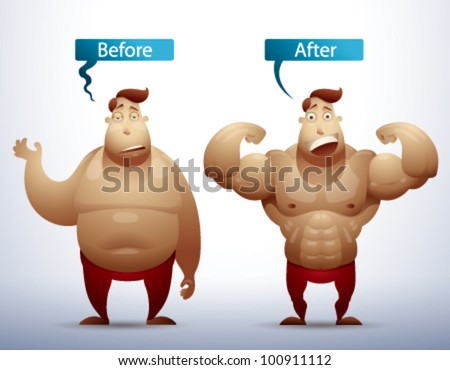 Men Before and After vector
