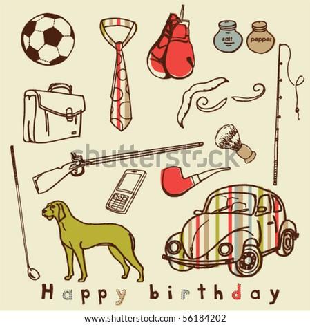 Birthday Cards Logo. vector : men irthday card