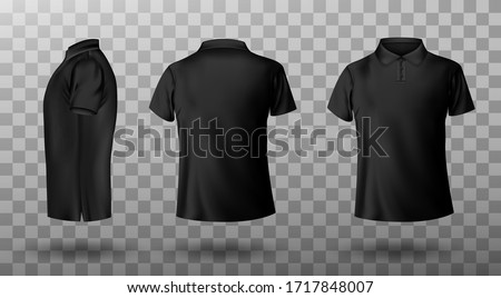 Men black polo shirt front and back view. Vector realistic mockup of male blank t-shirt with collar and short sleeves, sport or casual apparel isolated on transparent background