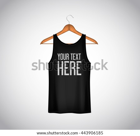 Men Black Tank Top Isolated Realistic Mockup Whit Brand Text For Advertising T