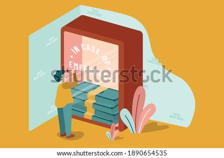 Men breaking emergency glass full of money with hammer. indoor plant, stack of money, vector illustration. Stock foto ©