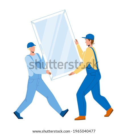 Men Carrying Pvc Window For Installing Vector. Construction Workmen Carefully Carry Pvc Window For Install Or Replacement. Characters Professional Occupation Flat Cartoon Illustration Stock photo ©