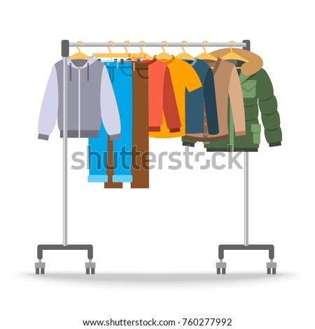 Men casual warm clothes on hanger rack. Flat style vector illustration. Male apparel hanging on shop rolling display stand. Winter and autumn outfit new fashion collection. Seasonal sale concept