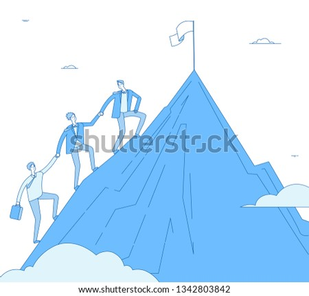 Men climb mountain. Success leader with team go up top successful winner. Business reaching, leadership achievement vector concept