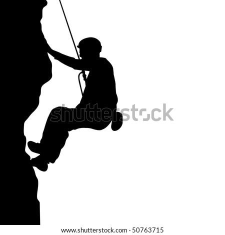 Men climb on the rock