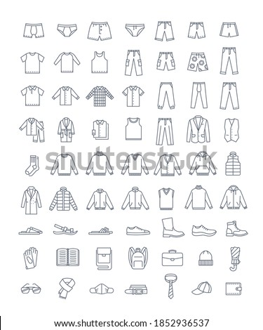 Men clothes, shoes and accessories simple line vector icons. Flat linear symbols. Male basic garments. Online shop categories. Outline infographic elements. Contour silhouettes of pants, shirts, boots Stockfoto ©