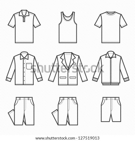 Men Clothing Icons with White Background : NO.1
