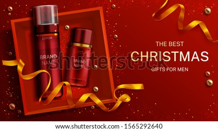 Men cosmetics Christmas gift bottles shaving foam and lotion, cosmetic tubes in box top view with gold ribbon on red xmas or new year background. Body care product. 3d realistic vector illustration.