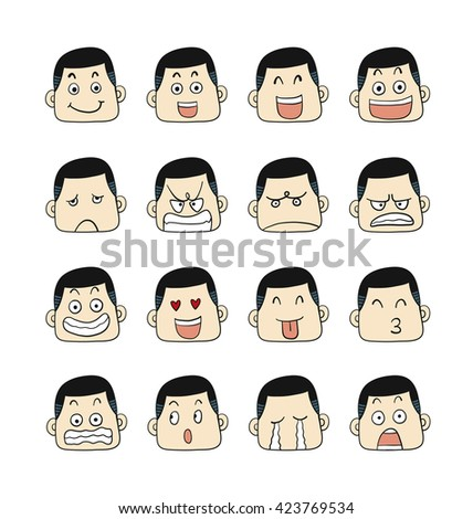 Men emotions faces vector characters.