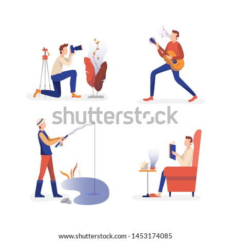 Men enjoying holiday free time hobby activities. Shooting nature outdoor photo, fishing in pond, practicing guitar play, reading books and relaxing. Flat vector illustrations collection.