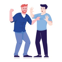 Men fight flat vector illustration. Aggressive behavior in society. Male conflict. Friends arguing. Angry and defending men isolated cartoon characters with outline elements on white background