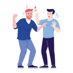 Men fight flat vector illustration. Aggressive male behavior. Friends conflict, dispute. Angry and defending men isolated cartoon characters with outline elements on white background