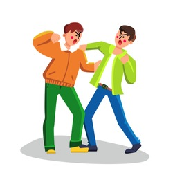Men Fighting Boxing, Aggressive Behavior Vector. Angry And Defending Arguing Strong Guys Fighting And Attack. Characters Aggression Street Battle Conflict Flat Cartoon Illustration