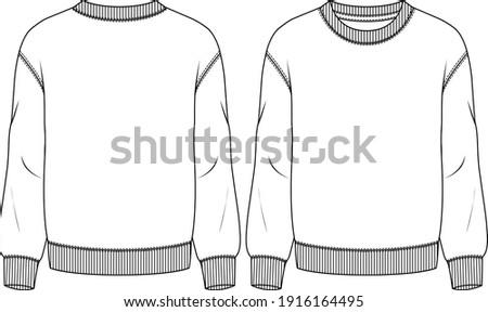 Men Fleece Top fashion flat sketch template. Technical Fashion Illustration. Boys Sweatshirt Stockfoto ©