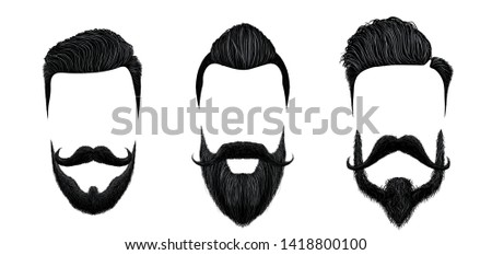 Men hair and moustache styling. Vintage gentleman haircut, beauty beard and fashion mustaches styles vector illustration set