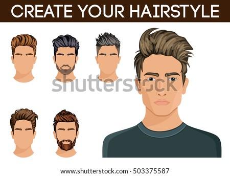 Men Hair Style Symbol Beard Mustache Hipster Vector Illustration