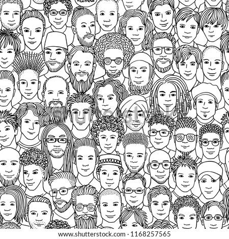 Men - hand drawn seamless pattern of a crowd of different men from diverse ethnic backgrounds in black and white