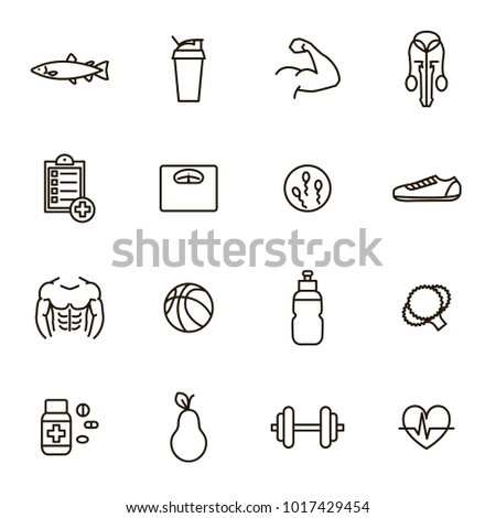 Men Health Signs Black Thin Line Icon Set Include of Fitness, Sport, Gym, Muscle, Heart, Dumbbell, Scale and Fruit. Vector illustration