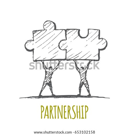 Men hold puzzles in their hands. Vector business concept illustration. Hand drawn sketch. Lettering Partnership.