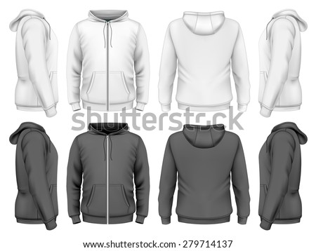 Men hooded sweatshirt (front, side and back views). Vector illustration