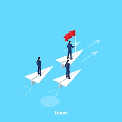 men in business suits fly on paper airplanes as one team, an isometric image
