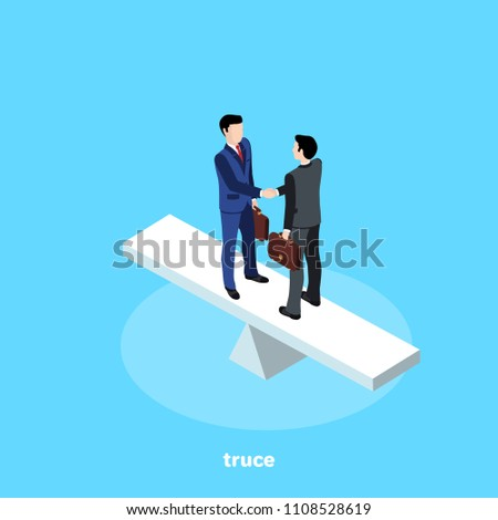 Men in business suits make peace, isometric image
