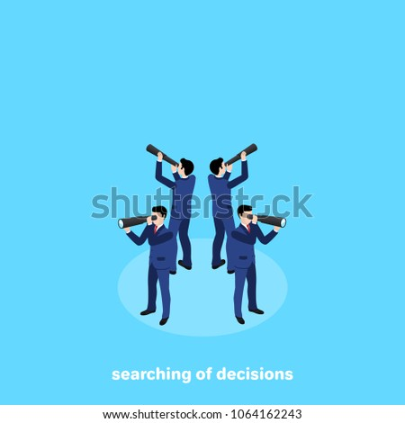 men in business suits with telescopes look in all directions of the world, isometric image