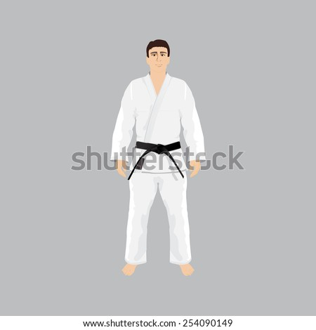 Men in sport wear judo and jiu-jitsu. gi, black belt, martial arts.