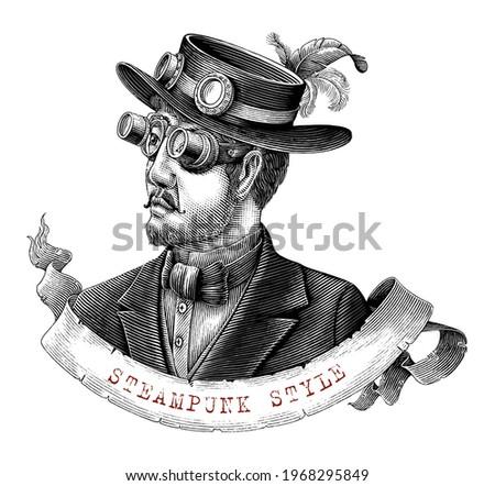 men in steampunk costume hand