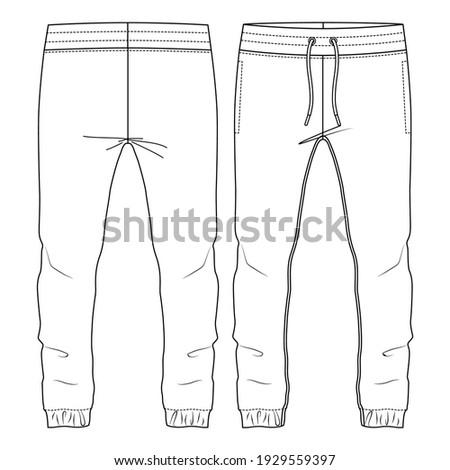 Men Jogging Sweat Pants. flat fashion sketch template. Technical Fashion Illustration. Front Drawcord. Elastic hem