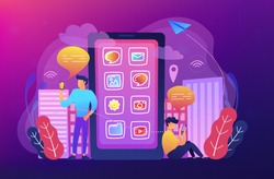 Men near huge smartphone with application icons on screen checking social media and news feeds. Social media, news tips, IoT and smart city concept. Vector illustration on ultraviolet background.