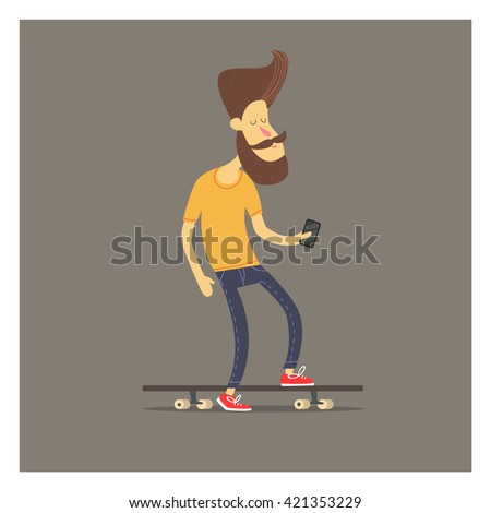 men on skateboard hipster with