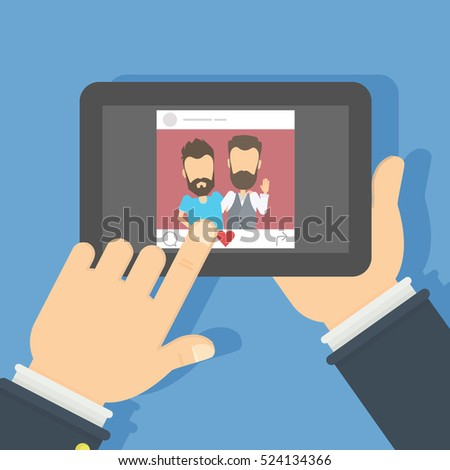 men on the screen hand holding