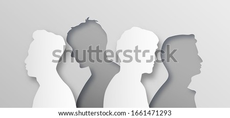 Men people group illustration in abstract layered paper cut style. All male team for men's issues or man psychology concept. Modern papercut design of boy crowd from side profile view. Сток-фото ©