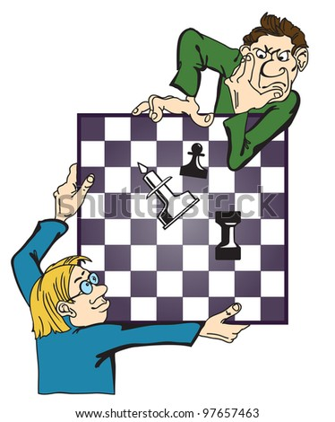 men play chess. Caricature of a complex combination.
