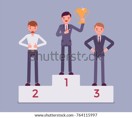 Men put on pedestal of honor. Young businessmen on the place of superiority, chosen at position of great esteem, proud competition winners. Vector flat style cartoon business concept illustration