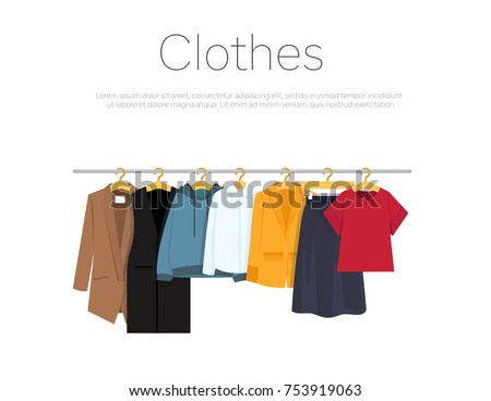 Men's and woman's clothes on hangers, vector illustration