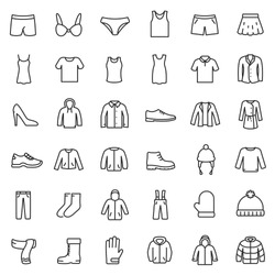 men's and women's clothing for different seasons, icons set. Line with Editable stroke