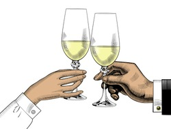 Men's and women's hands holding glasses of champagne. Wedding, ceremony, marriage. Vintage engraving stylized drawing. Vector illustration