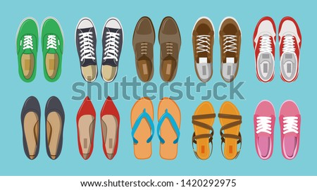 Men's and Women's shoes top view. Shoes icons. Sneakers and Slippers collection. Vector illustration ストックフォト ©