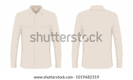 Men's beige dress shirt. Front and back views on white background #1019682319