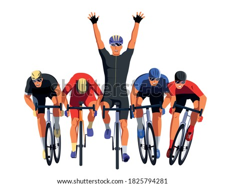 Men s bicycle race. Cyclists at the finish line are fighting for the victory. Final sprint front view. Athletes on bikes are finishing the race and pushing each other with elbows. Vector flat design Foto d'archivio ©
