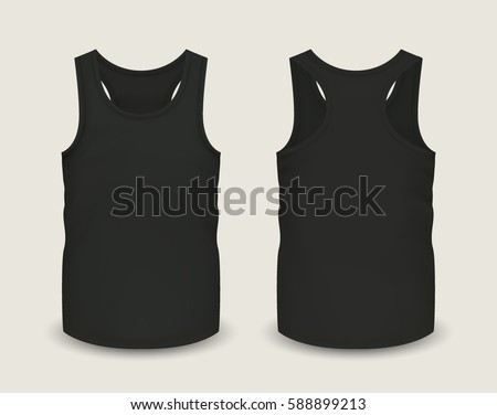 d88b2c5fd13 Men's black tank top without sleeves in front and back views. Vector  illustration with realistic